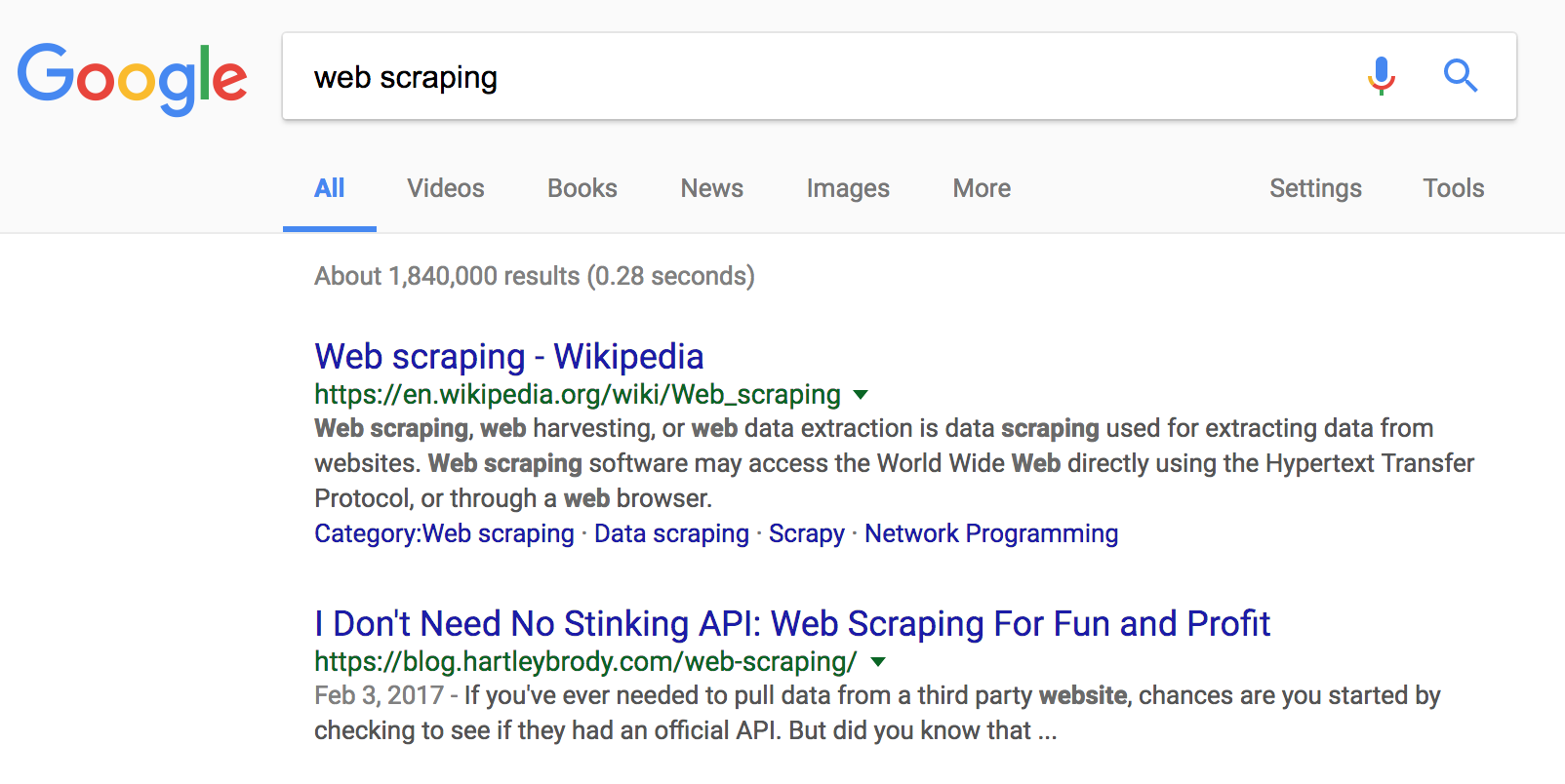 My articles tend to rank pretty well on 'web scraping' terms