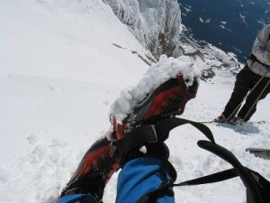 "crampons ""balling up"" with snow"