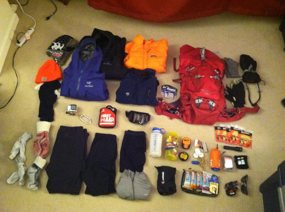 All my gear for the Mt. Washington climb